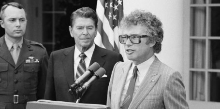Canadian Ambassador Kenneth Taylor says a few words after he was presented the Congressional Gold Medal by President Ronald Reagan, June, 1981. (AP Photo/ Barry Thumma)